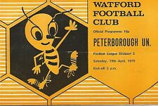 Programma di calcio-Watford V Peterborough United-DIV 3 - 19/4/1975