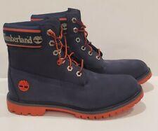Timberland Icon 6 inch Navy Orange Logo Boots Blue Men 8/ Women 9.5 Waterproof