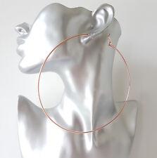 HUGE 12cm Gold Tone Big Plain Wire Hoop Earrings Large - Massive Hoops