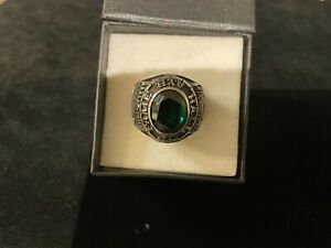 RARE Silver Tone Green Baseball Hall of Fame AYB Little Majors Cooperstown Ring