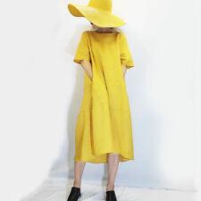 Linen Solid Maxi Dresses for Women