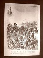 Umberto I Battaglia di Custoza 1866 Incisione 1881 Dinastia di Savoia Oscar Pio