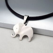 Silver Stainless Steel Animal Elephant Pendant 3mm Black Leather Choker Necklace