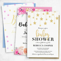 Personalised Baby Shower Invitations for Gender Neutral, Boy or Girl Themes (G1)