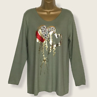 Italian Fine Knit Soft Touch Jumper Khaki Green Hearts Balloons UK Size 12 14 16