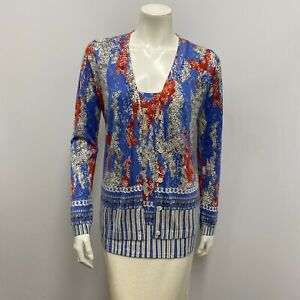 Neiman Marcus Cashmere Collection Twin Set Cardigan Top Blue Red Gray Size M
