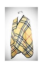 CLASSIC Soft & Warm Beige Brown Plaid Print Black Trim Ruana Shawl Scarf Wrap
