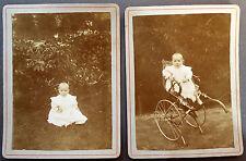 2 Photos Anciennes CDV Fin XIXe Portrait Bébé Poussette Support Carton