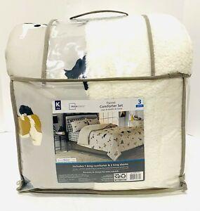 Mainstays Dog Cozy FLannel Reverse to Super Soft Sherpa Comforter Set, King