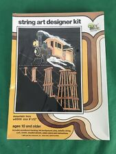 "vtg new sealed, Open Door String Art Mountain Loco Train Locomotive  9"" x 12"""