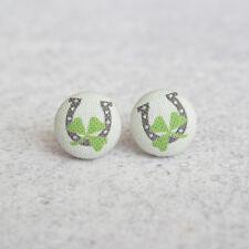 Horseshoe Fabric Button Earrings