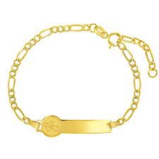 14k Yellow Gold Unisex Adjustable Pacifier Identification Tag Figaro Bracelet