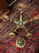 Turdor Antique ornate Ceiling 5 Lighter Light Fixture coat of arm knight motif