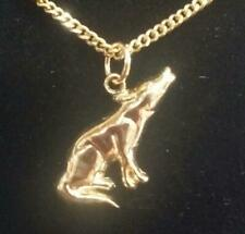 Modern New 14K Solid Yellow Gold Small Gold Wolf  Charm / Pendant