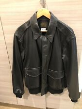 Avirex A-2 USA Leather Flight Jacket Bomber Black Size 42  Excellent Condition