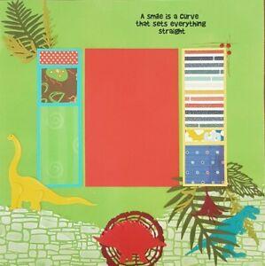 "Handmade Premade Scrapbook Page Layout ~ DINOSAURS ~ 12"" x 12"""