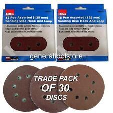 125mm Round Sander Sheets  30 pc 60, 80, 120 Grit Velcro Sanding Disc Pads Hilka