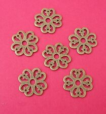 20pcs-Pendant, Charm Connector Flower Antique Bronze Alloy 15mm.