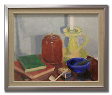 STILL LIFE WITH BOOKS AND PIPE - Original Swedish Oil Painting