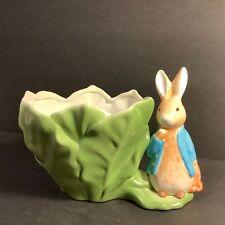 1998 Beatrix Potter Peter Rabbit Green Cabbage Lettuce Bowl Flower Pot Planter.