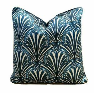 "Anna Hayman Jade/Blue Velvet Fabric 16"" x 16"" (40cm x 40cm) Piped Cushion Cover"