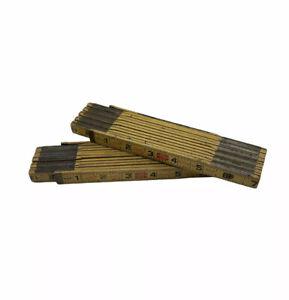 "2 Vintage LUFKIN X46 Red End Extension 72"" Folding Wood Rule/Rulers (U.S.A.)"