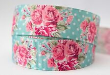 1M X 22mm Grosgrain Ribbon Craft DIY Cake Decorations Hair Bows - Garden Roses