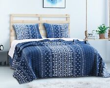 Embry 3pc King Quilt Set Bohemian Boho Indigo Barefoot Bungalow