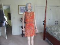 Ralph Lauren Orange Multi Color Paisley Print Split Neck Sheath Dress Size 6P