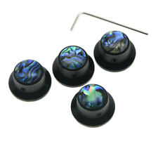 KAISH Set Screw Abalone Top Black LP Guitar Bass Top Hat Bell Knobs Metal Knobs