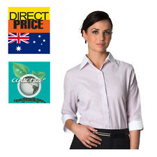 Women Shirt Blouse Tops White Collar Cuffs Office Casual Formal  Business Pink