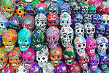 STUNNING MEXICAN SUGAR SKULLS CANVAS PICTURE #3 COLOURFUL WALL HANGING POP ART