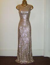 QUIZ GORGEOUS GOLD SEQUIN MAXI EVENING PARTY OCCASION DRESS SIZE 12