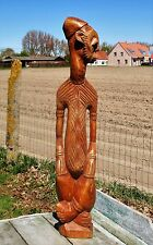 Large African Statue Hand Made Carved Wood Tribal Art Figurine Good Quality