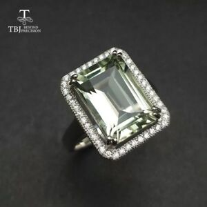Natural large green amethyst 7.5 ct gems 925 sterling silver anniversary rings