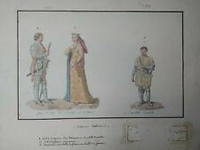 Aquarelle : Mode Costumes Royaume carolingien France Duc de Bourgogne 1380