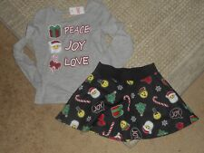 Girls Justice Holiday Gray/Black Peace Joy Love Santa Skirt Outfit Size 6 NWT
