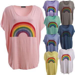 Women Italian Rainbow Print Casual Top Short Sleeve Off Shoulder Oversize Shirt