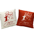 18'' Cotton Linen Merry Christmas Deer Square Throw Pillow Case Cushion Cover