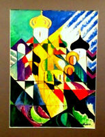 Orig. RUSSIAN CHURCH Cubist Cubism Painting LISTED RUSSIA ARMENIAN artist CHAHIN