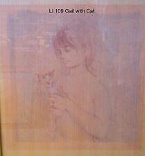 Gail with Cat Unique & Oil   Lithograph  Edna Hibel