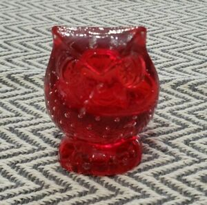 """Vintage Red Owl Glass Paperweight Lefton 3"""""""