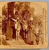 Stereoview Strohmeyer Wyman Underwood Pretty Little Water Girls Thebes Egypt (O)