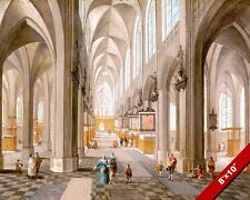 ANTWERP BELGIUM CATHEDRAL GOTHIC INTERIOR CHURCH PAINTING ART REAL CANVAS PRINT
