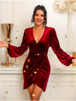 Burgundy Velvet Surplice Front Tulip Hem Deep V Neck Cocktail Dress Sz S M L XL