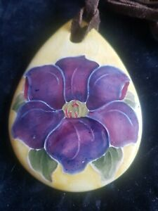 Moorcroft Clematis Pendant With Leather Thong