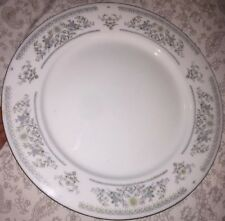 "10 1/2"" China Dinner Plate - Pale Blue & Green Flowers Made In China"