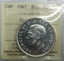 Canada 1947 Blunt 7 Silver Dollar MS64 ICCS Near GEM  Original Coin George VI