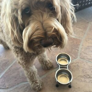 2 Vollrath #87404 Stainless Steel Bowls with raised carrier for pets