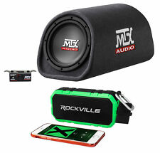 "MTX RT8PT 8"" 240w Powered Subwoofer In Vented/Ported Bass Tube+Bluetooth Speaker"